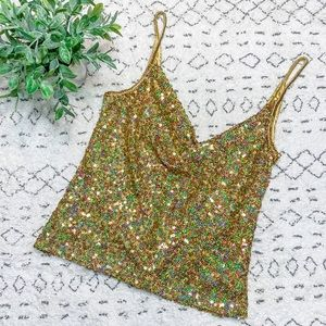 Cache Multi-Color Sequin Party Tank Top Gold Small